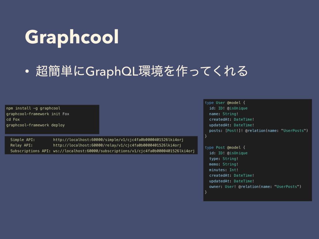 Graphcool • ؆୯ʹGraphQLڥΛ࡞ͬͯ͘ΕΔ type User @mod...