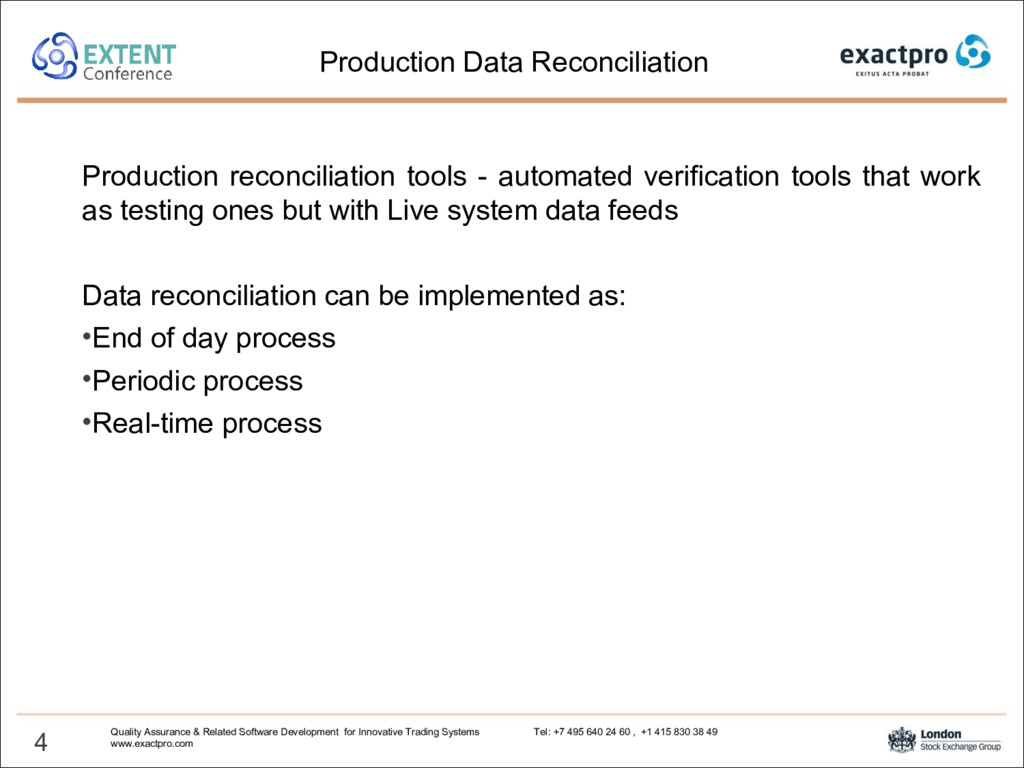 Production reconciliation tools - automated ver...