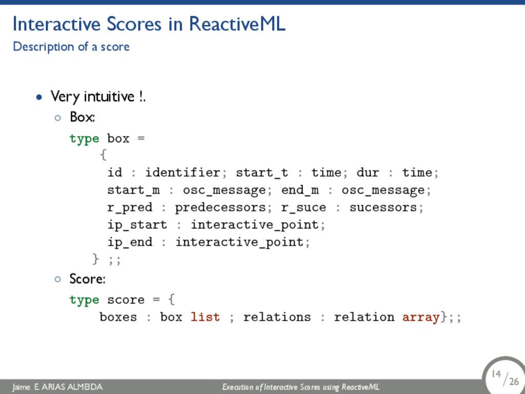 . Interactive Scores in ReactiveML Description ...