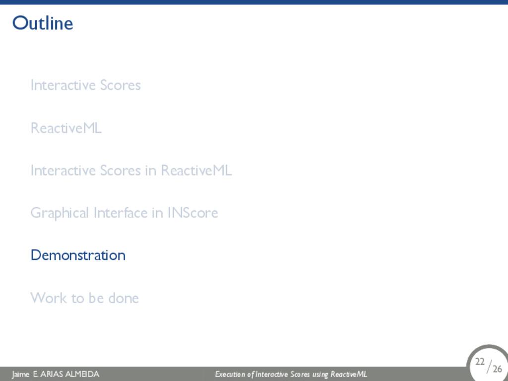 . Outline Interactive Scores ReactiveML Interac...