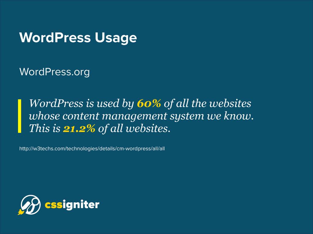 WordPress Usage WordPress.org WordPress is used...