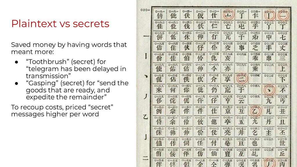 Plaintext vs secrets Saved money by having word...