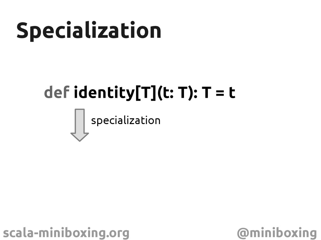 scala-miniboxing.org @miniboxing Specialization...