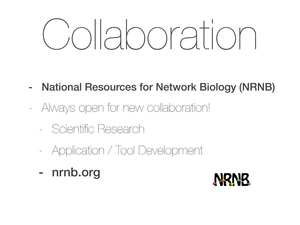 Collaboration - National Resources for Network ...