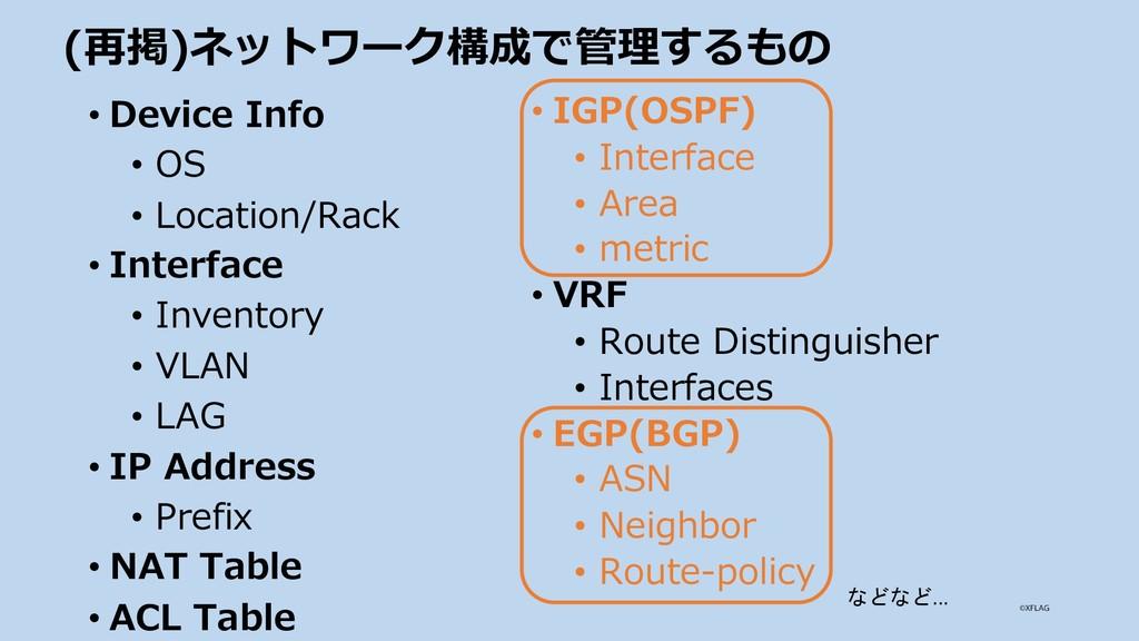 (再掲)ネットワーク構成で管理するもの • Device Info • OS • Locati...