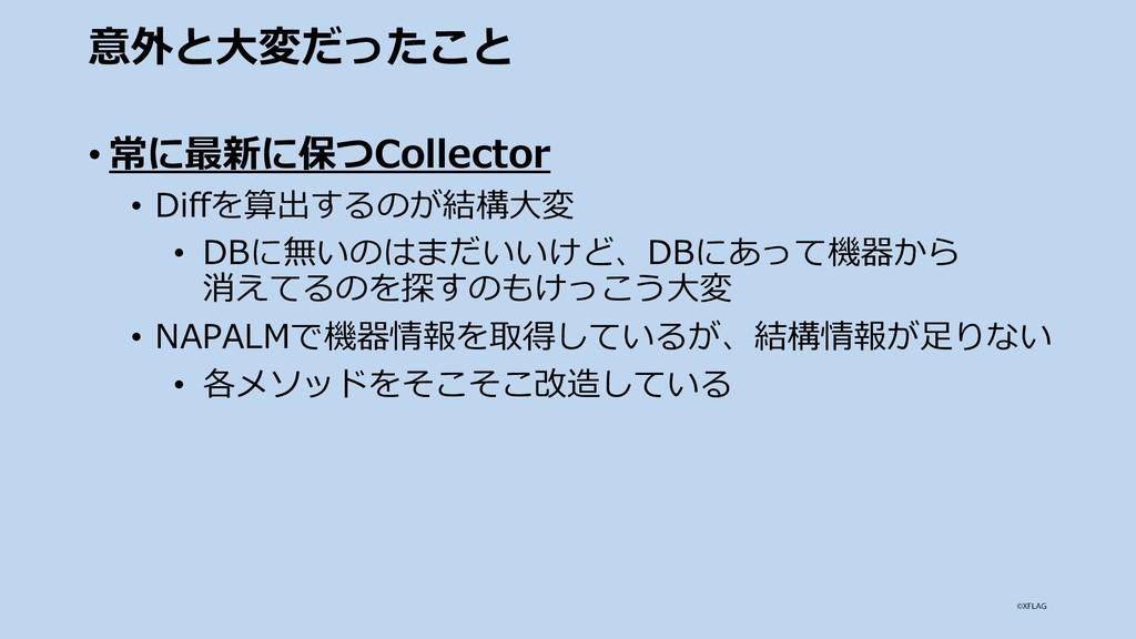 意外と⼤変だったこと • 常に最新に保つCollector • Diffを算出するのが結構⼤変...