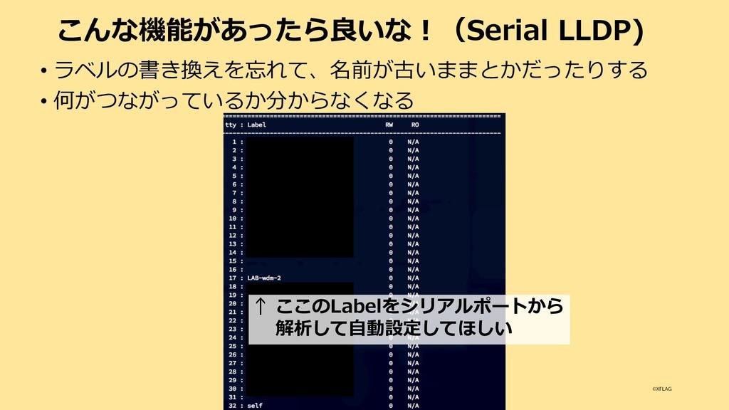 こんな機能があったら良いな︕(Serial LLDP) • ラベルの書き換えを忘れて、名前が古...