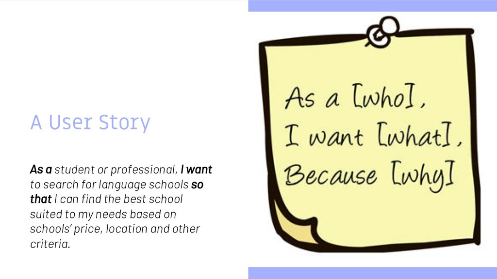 A User Story As a student or professional, I wa...