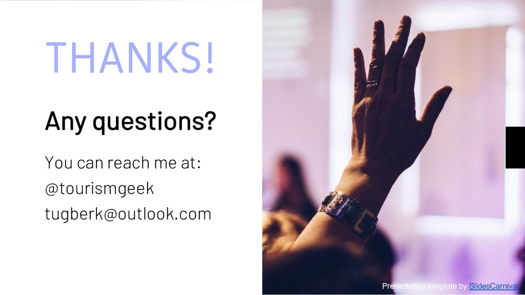 THANKS! Any questions? You can reach me at: @to...