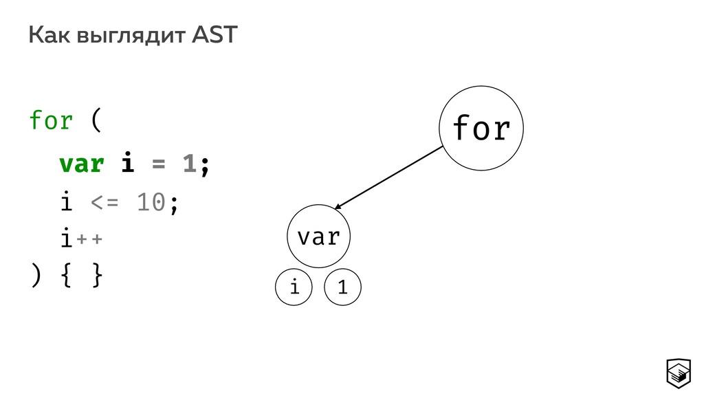 Как выглядит AST 13 for var 1 i for ( var i = ...
