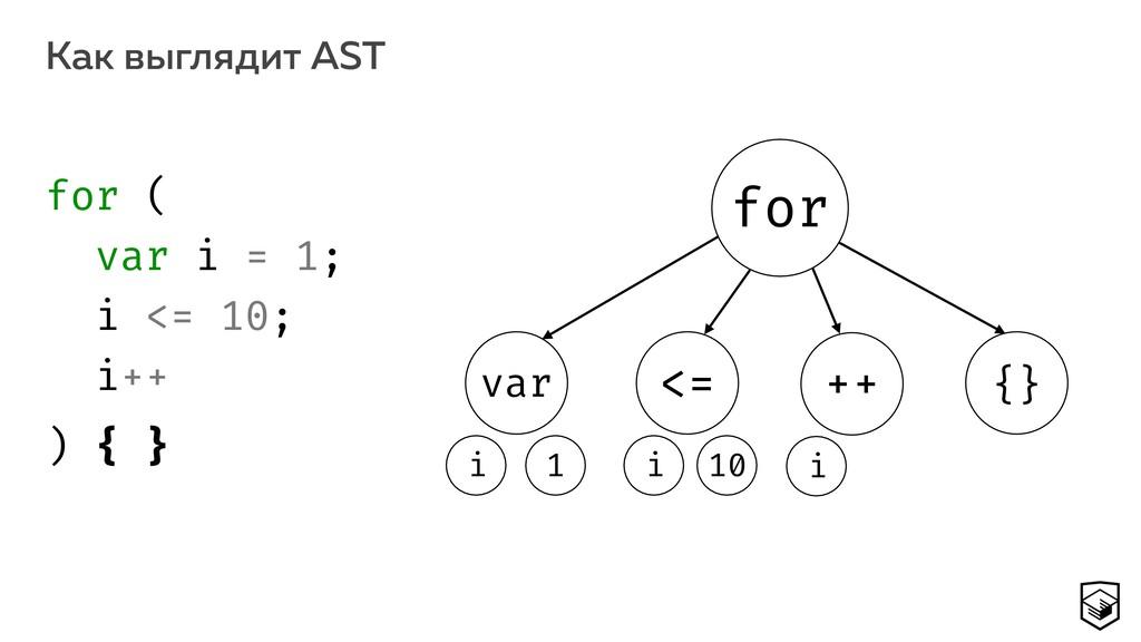 Как выглядит AST 13 for var 10 i {} ++ <= i 1 i...