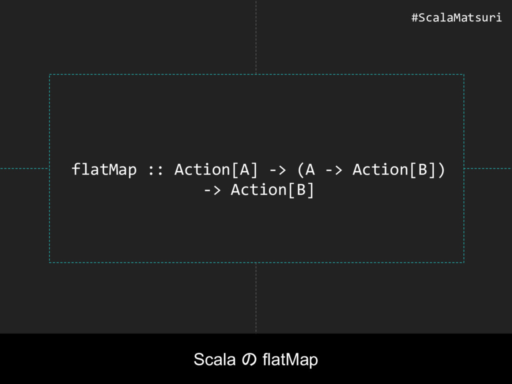 flatMap :: Action[A] -> (A -> Action[B]) -> Act...