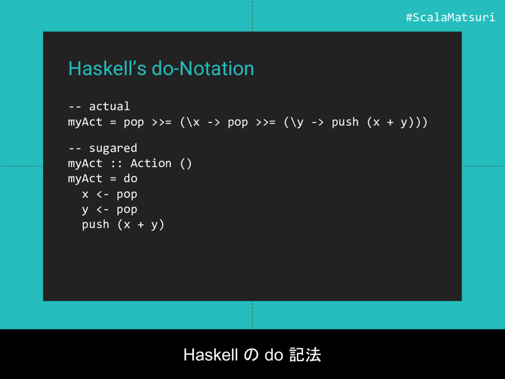 Haskell's do-Notation -- actual myAct = pop >>=...