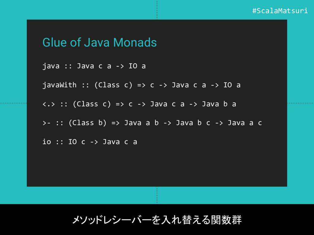Glue of Java Monads java :: Java c a -> IO a ja...