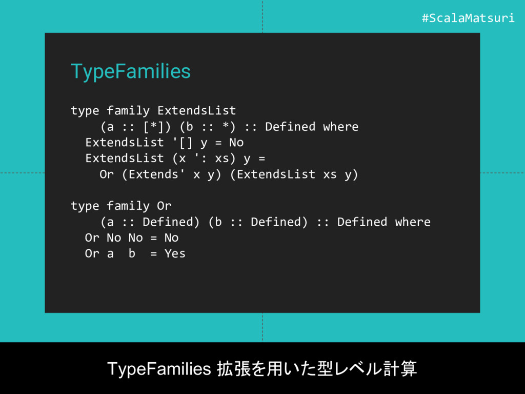 TypeFamilies type family ExtendsList (a :: [*])...