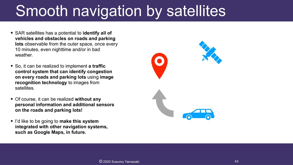Smooth navigation by satellites • SAR satellite...