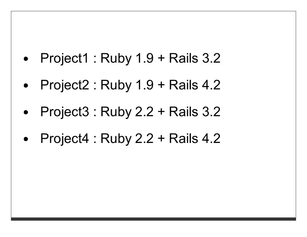 Project1 : Ruby 1.9 + Rails 3.2 Project2 : Ruby...