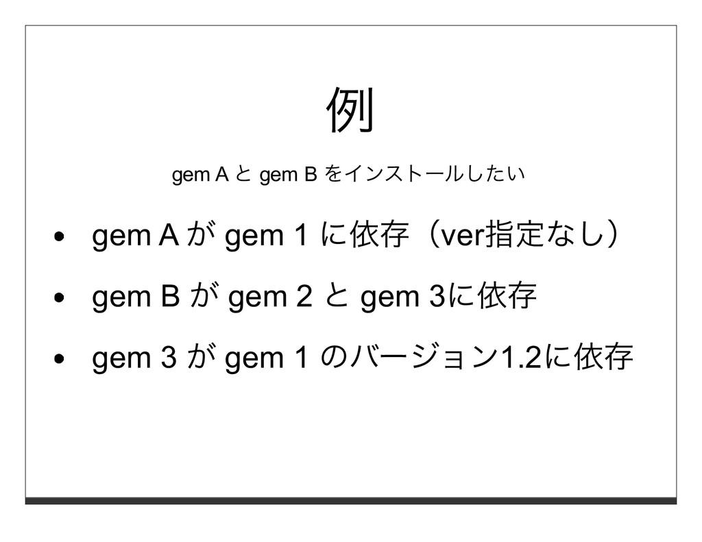 例 gem A と gem B をインストールしたい gem A が gem 1 に依存(ve...