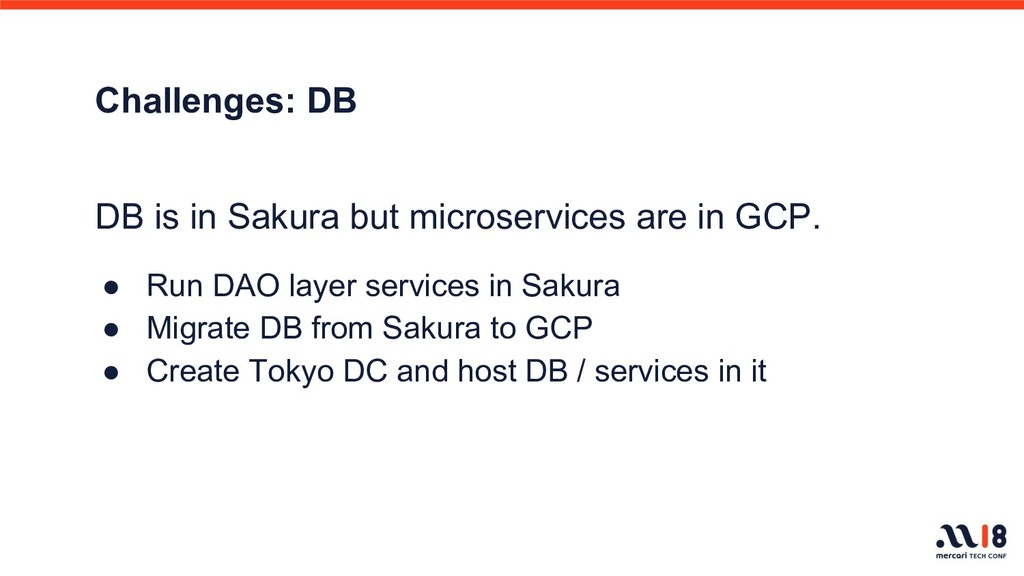 Challenges: DB DB is in Sakura but microservice...