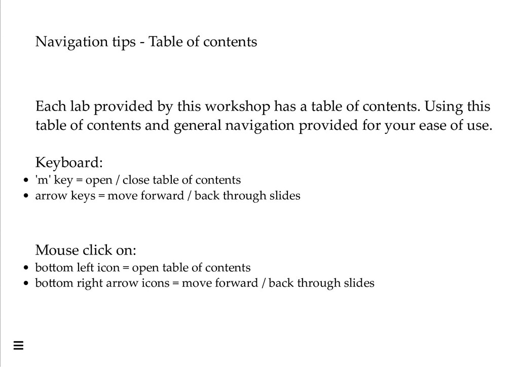 Navigation tips - Table of contents Each lab pr...