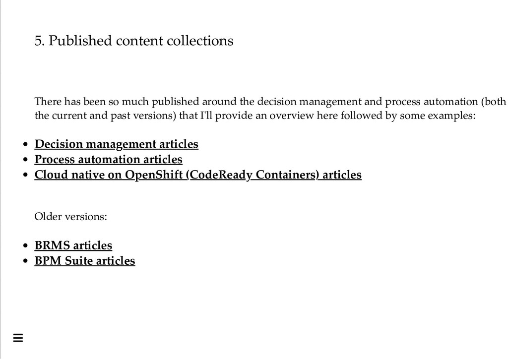 5. Published content collections There has been...