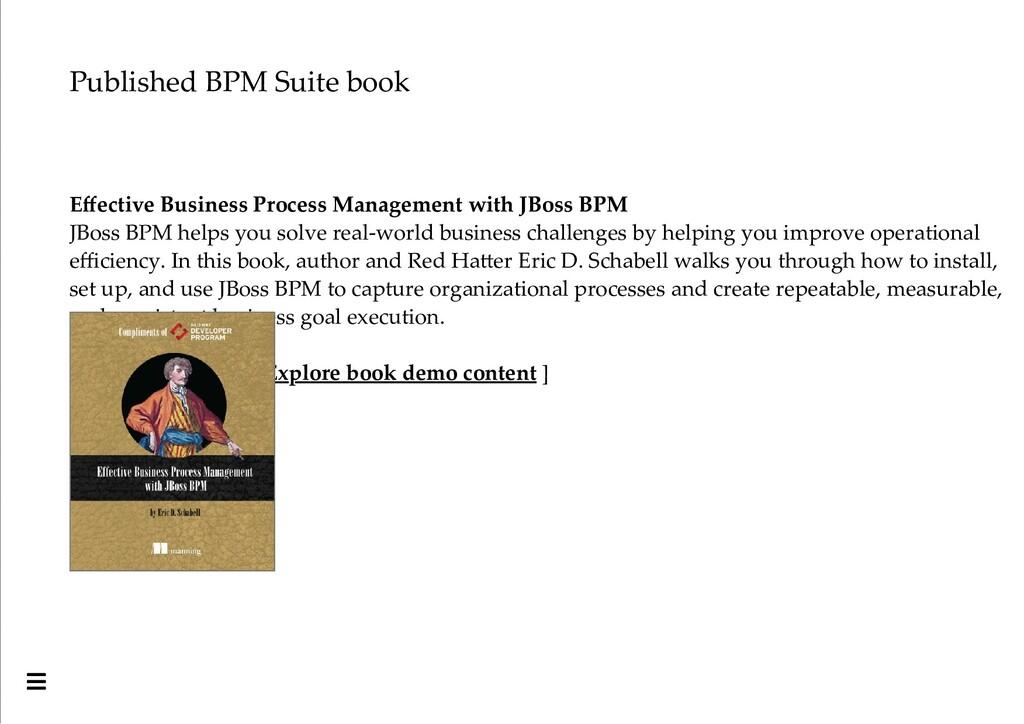Published BPM Suite book Effective Business Proc...