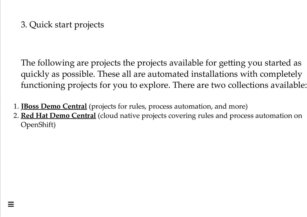 3. Quick start projects The following are proje...