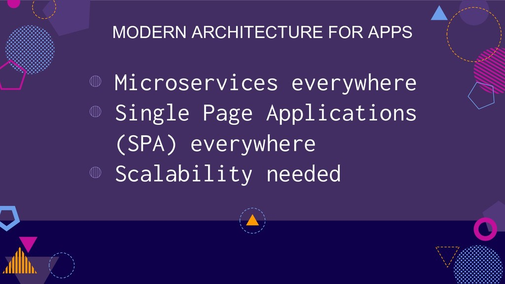 MODERN ARCHITECTURE FOR APPS ◍ Microservices ev...