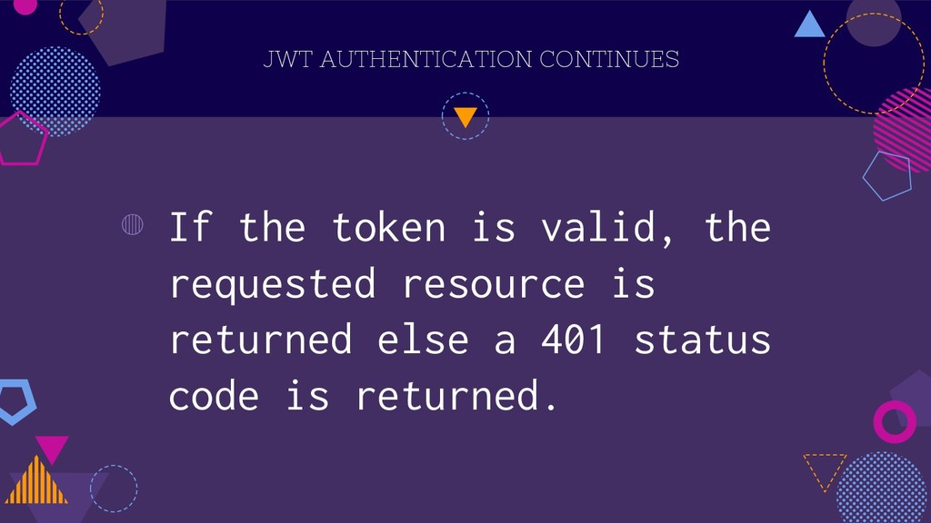 JWT AUTHENTICATION CONTINUES ◍ If the token is ...