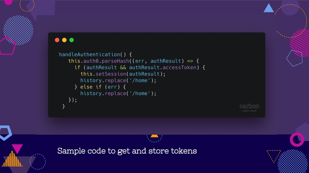 Sample code to get and store tokens