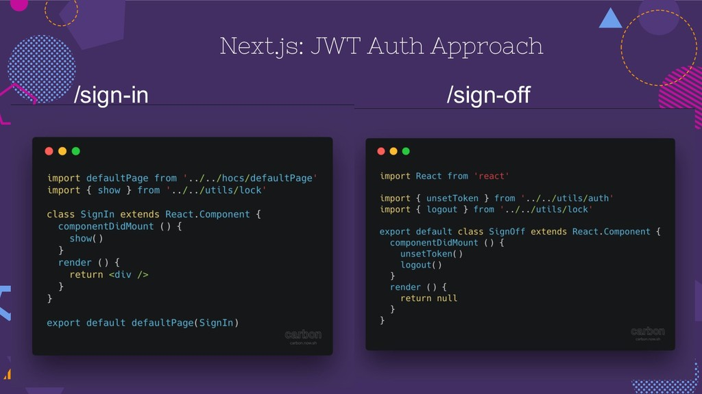 /sign-in /sign-off Next.js: JWT Auth Approach