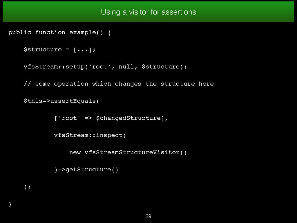 29 Using a visitor for assertions public functi...