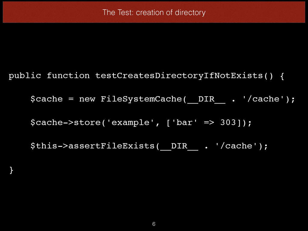 The Test: creation of directory public function...