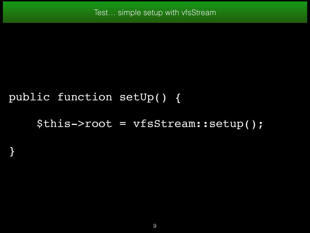Test… simple setup with vfsStream public functi...