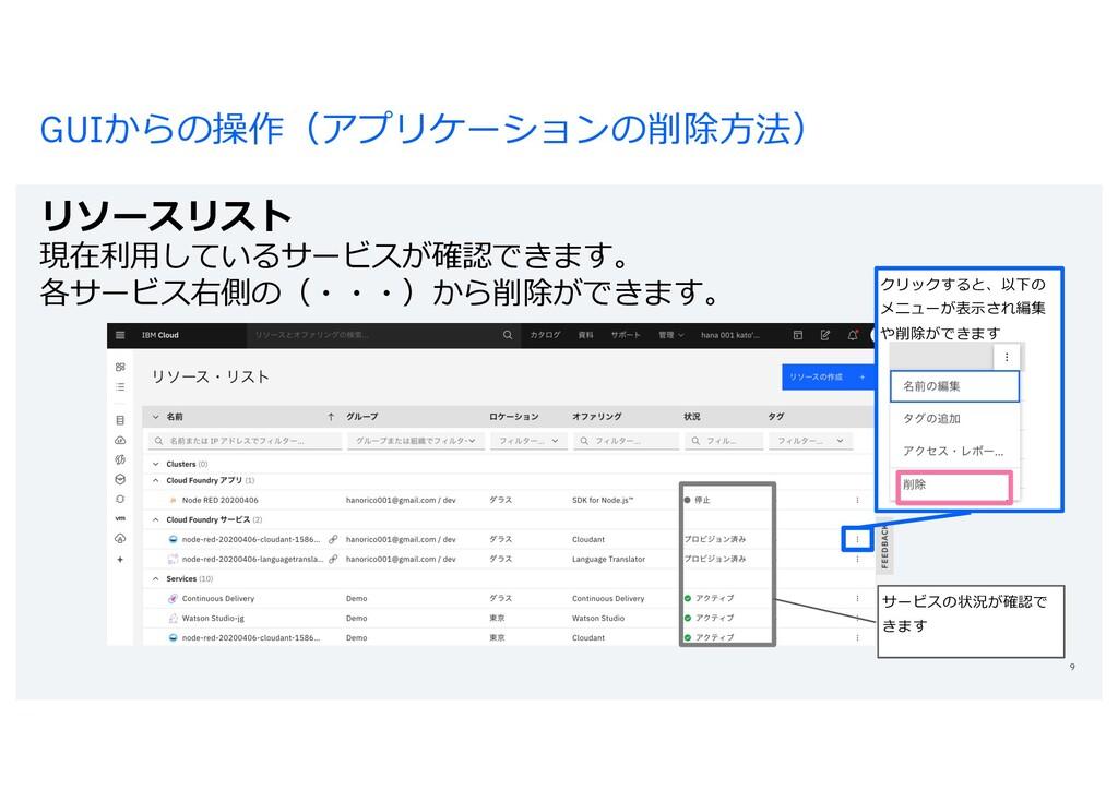 GUIからの操作(アプリケーションの削除⽅法) リソースリスト 現在利⽤しているサービスが確認...