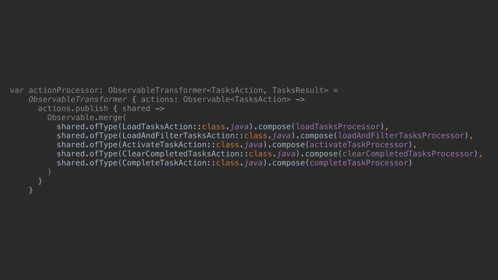 var actionProcessor: ObservableTransformer<Task...