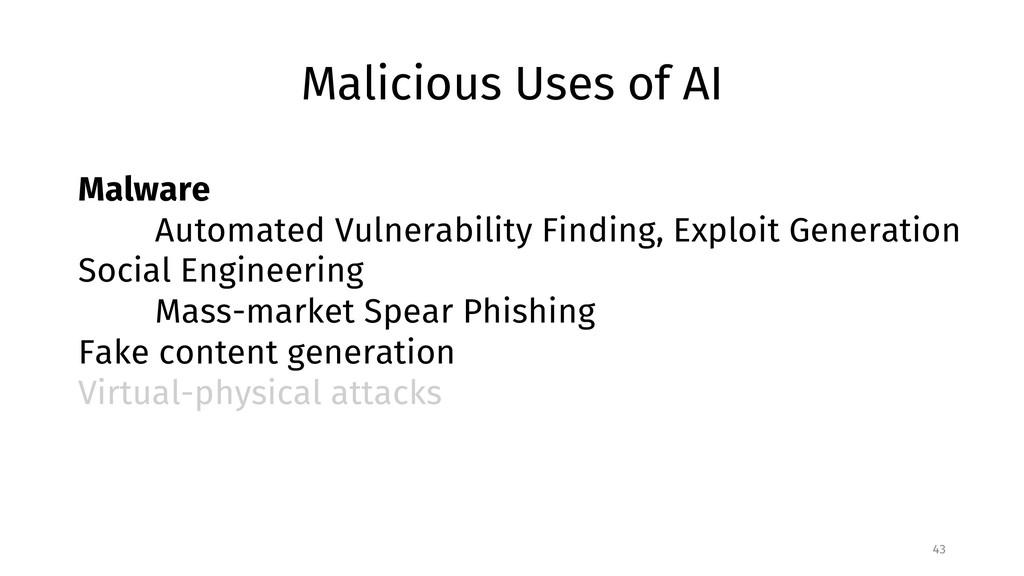 Malicious Uses of AI 43 Malware Automated Vulne...