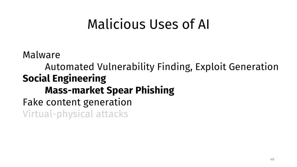 Malicious Uses of AI 48 Malware Automated Vulne...
