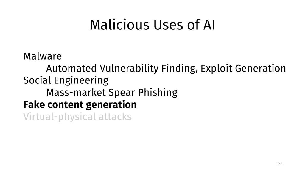 Malicious Uses of AI 53 Malware Automated Vulne...