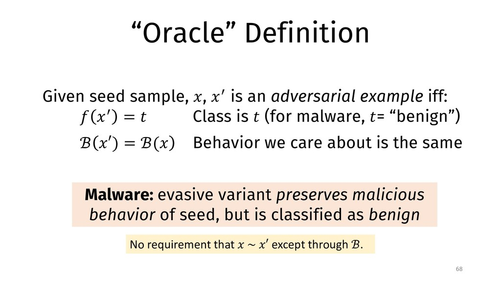 """Oracle"" Definition 68 Given seed sample, !, !""..."