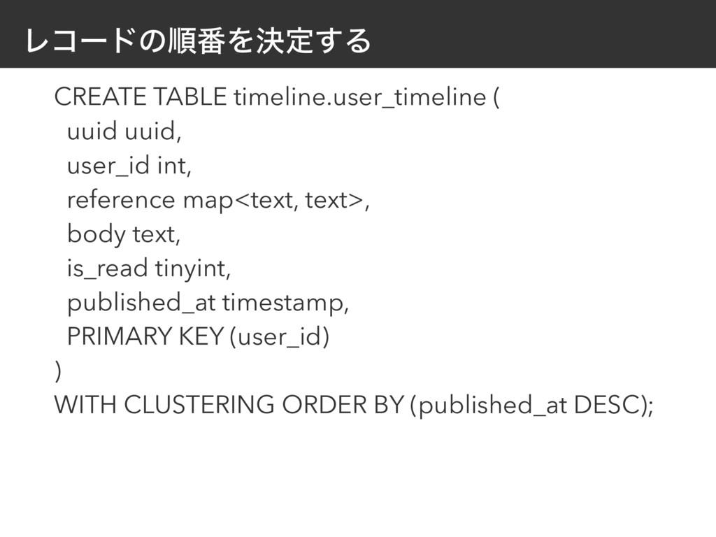 Ϩίʔυͷॱ൪Λܾఆ͢Δ CREATE TABLE timeline.user_timelin...