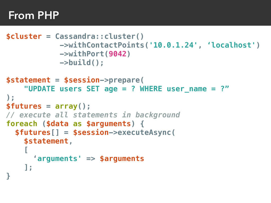 From PHP $cluster = Cassandra::cluster() ->with...