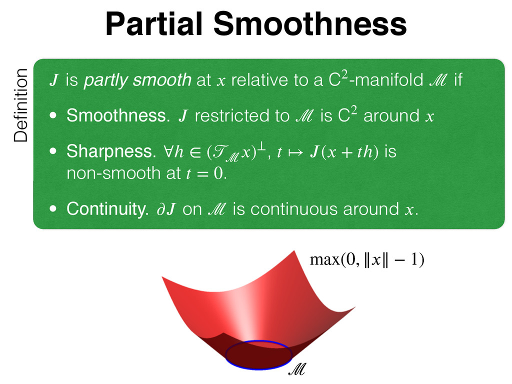 Partial Smoothness Definition  is partly smooth...