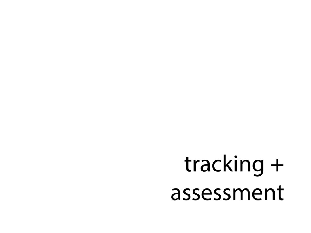 tracking + assessment