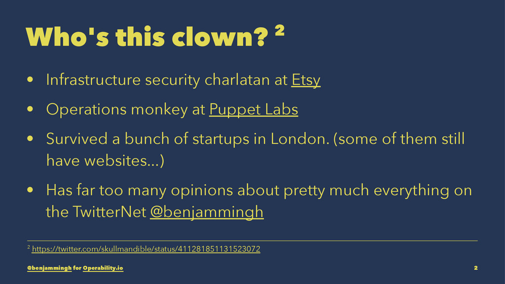 Who's this clown? 2 • Infrastructure security c...