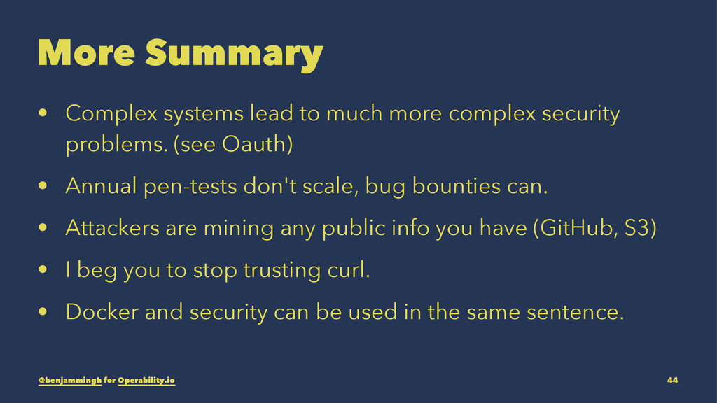 More Summary • Complex systems lead to much mor...