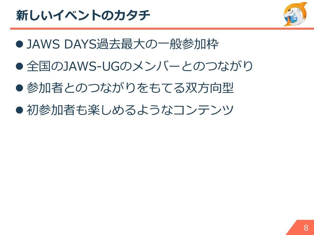新しいイベントのカタチ l JAWS DAYS過去最⼤の⼀般参加枠 l 全国のJAWS-UGの...