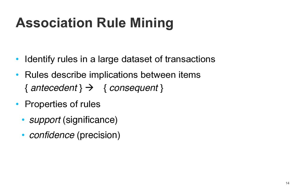 • Identify rules in a large dataset of transact...
