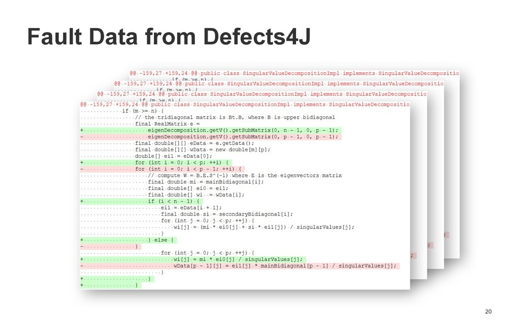 20 Fault Data from Defects4J