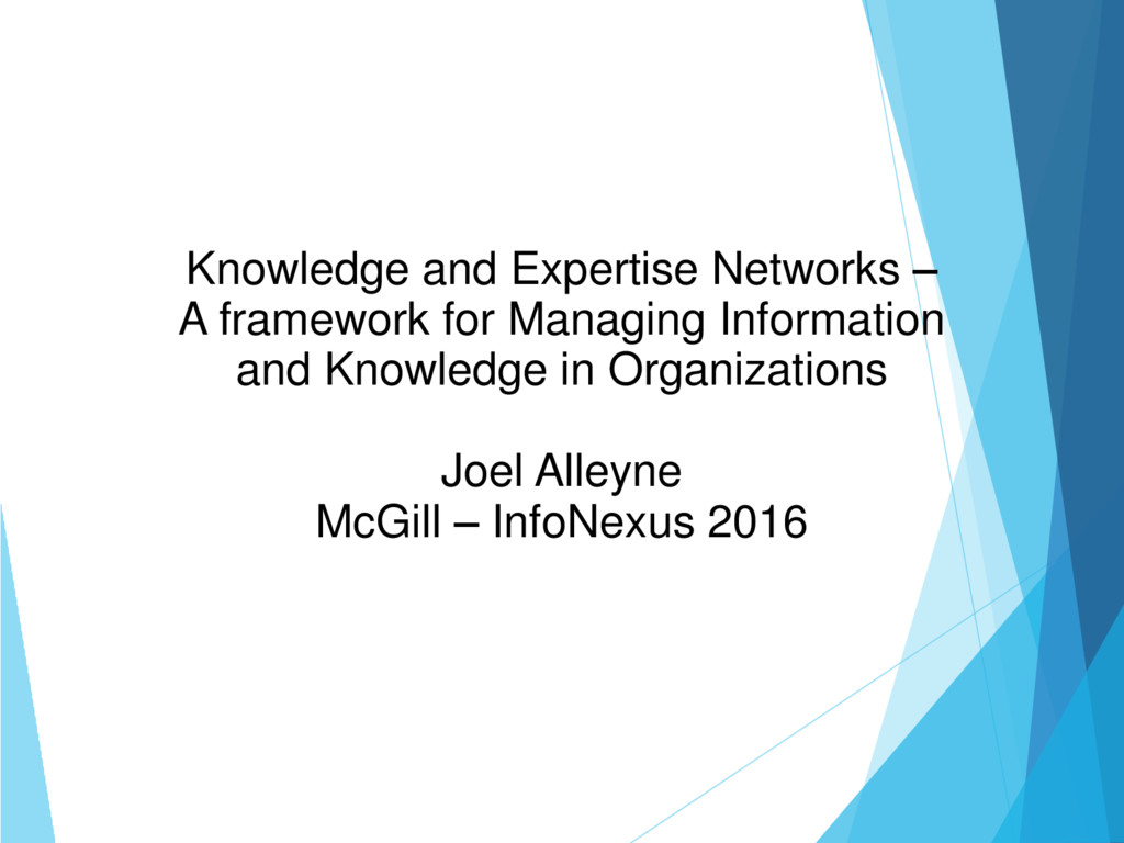Knowledge and Expertise Networks – A framework ...